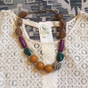Anthropologie Necklace and Large lace tee